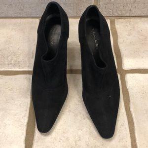 Tahari black suede heeled booties